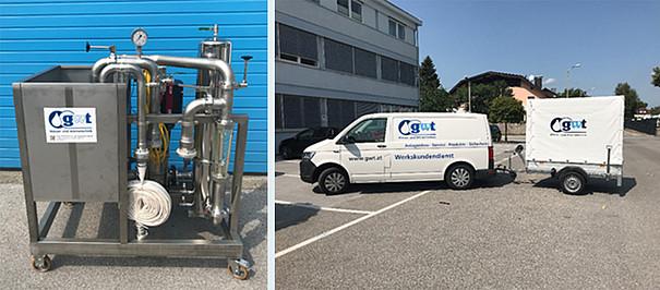 Mobiles Spülsystem zur Reinigung und Desinfektion von Membransystemen